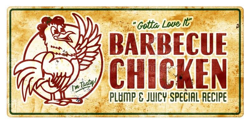 Vintage de signe de poulet de barbecue photo stock