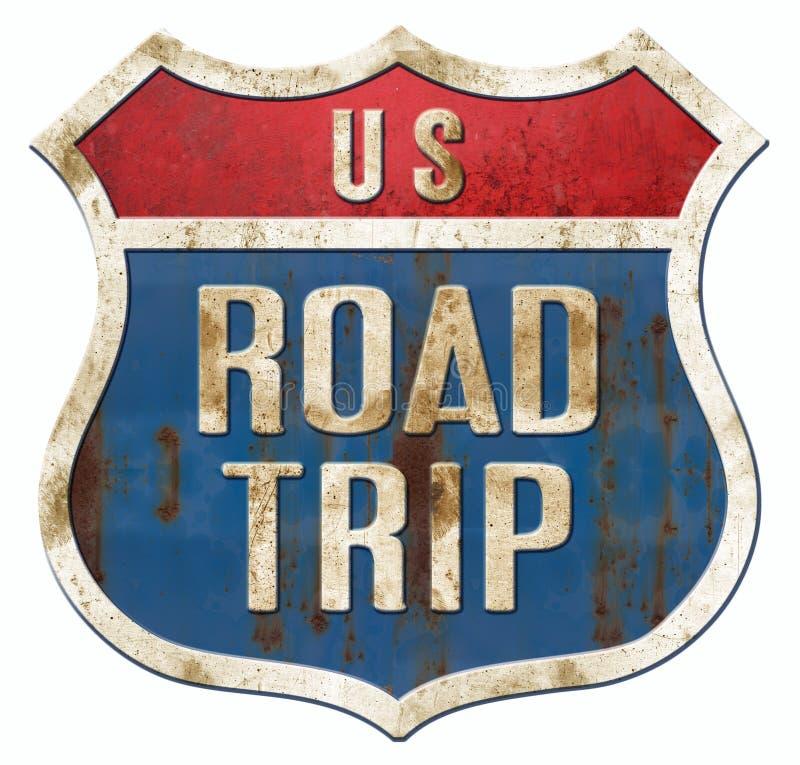 Vintage de signe de route de voyage par la route illustration stock