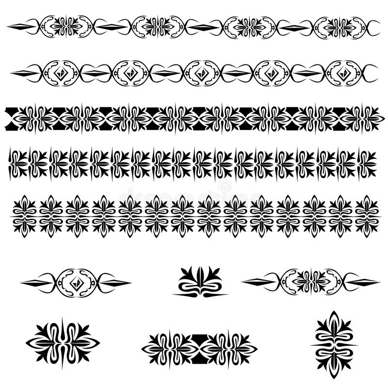 Vintage decoration pages. Vintage vector set with ornament and design elements vector illustration