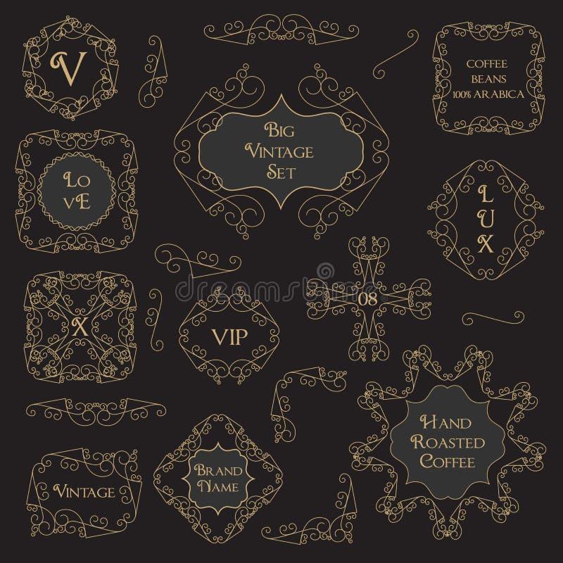 Vintage Decorations Design Elements. Border, Frame, Corner Set stock illustration