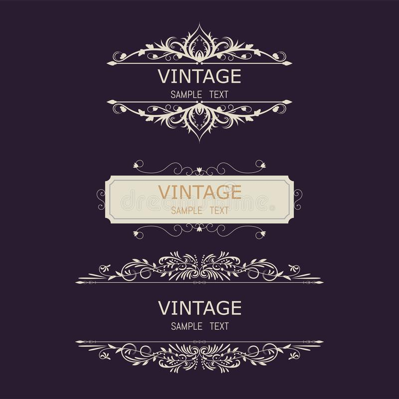 Vintage Decorations Elements. Flourishes Calligraphic Ornaments and Frames. Retro Style Design Collection for Invitations, Banners. Posters, Placards, Badges stock illustration