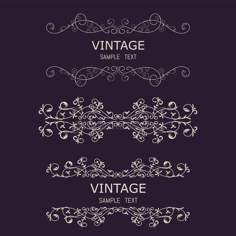 Vintage Decorations Elements. Flourishes Calligraphic Ornaments and Frames. Retro Style Design Collection for Invitations, Banners. Posters, Placards, Badges vector illustration