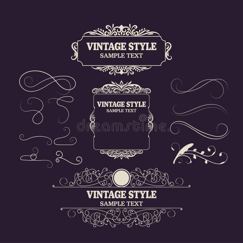 Vintage Decorations Elements and Frames. Retro Style Design New Collection for Invitations, Banners, Posters, Placards, Badges stock illustration