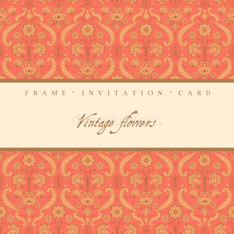 Vintage decorative card. With stylized flowers royalty free illustration