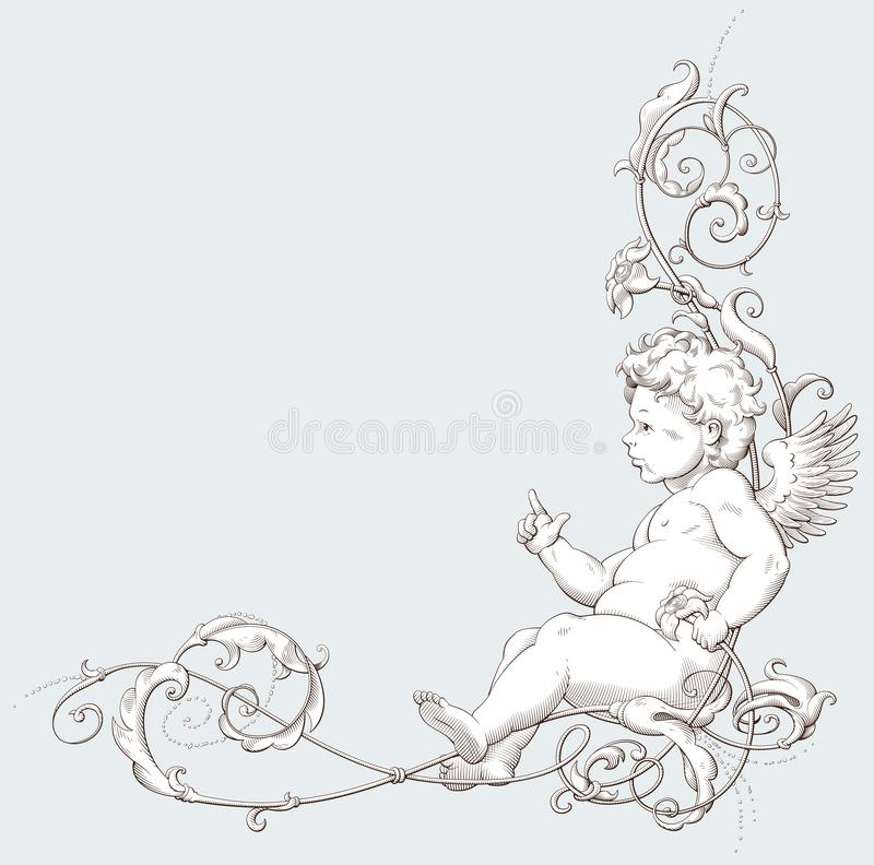 Vintage decorative element engraving with Baroque ornament and cupid royalty free illustration