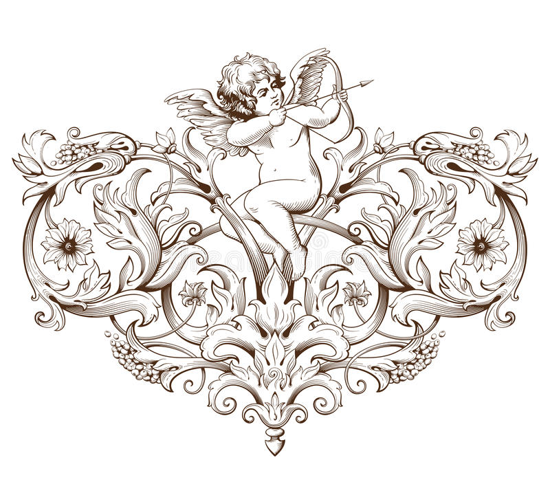 Vintage decorative element engraving with Baroque ornament pattern and cupid vector illustration