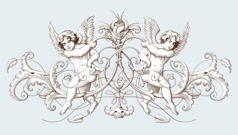 Vintage decorative element engraving with Baroque ornament pattern and cupids. Hand drawn vector illustration royalty free illustration