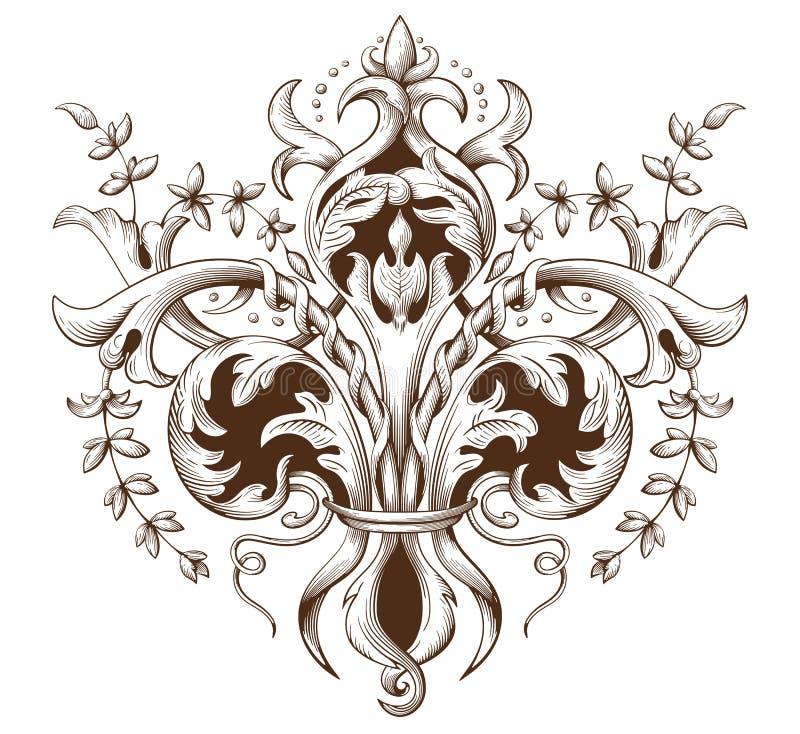 Vintage decorative element engraving with Baroque ornament pattern vector illustration