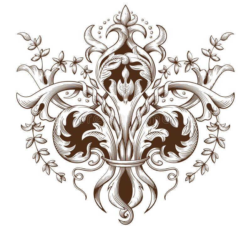 Free Vintage Decorative Element Engraving With Baroque Ornament Pattern Stock Images - 78415694
