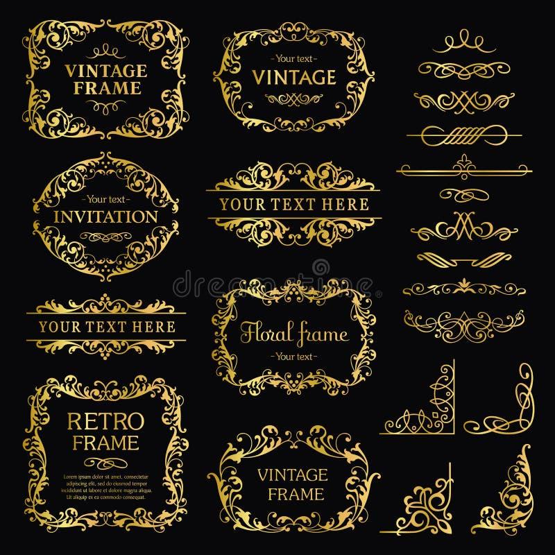 Vintage decorative element gold set stock photos