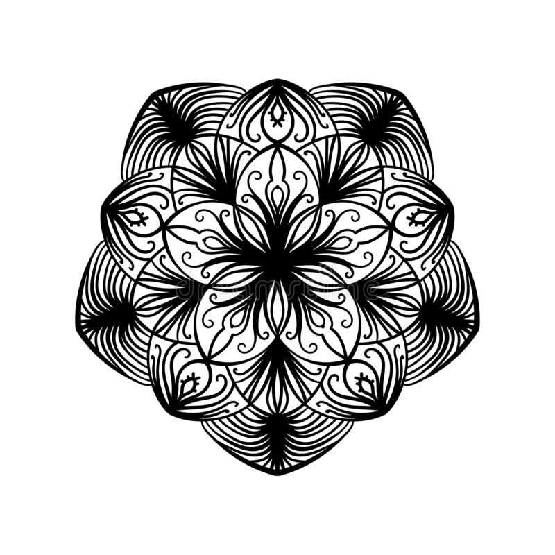 Decorative Element. Lacy Ornament. Abstract Pattern In Circle. Coloring Book Page For Adults ...