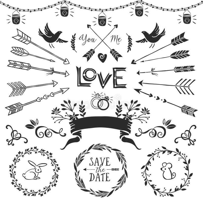 Vintage decorative elements with lettering hand drawn vector stock vintage decorative elements with lettering hand drawn vector design wedding set junglespirit Image collections