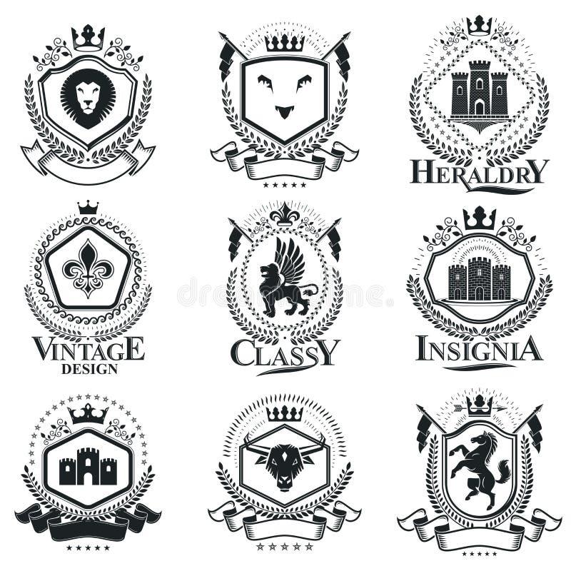 Vintage decorative emblems compositions, heraldic vectors. Class royalty free illustration