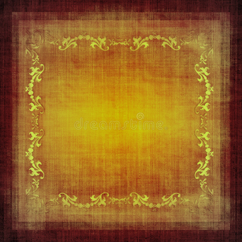 Vintage decorative fabric grunge. Decorative golden floral elements on vintage material grunge in sepia brown tones royalty free illustration