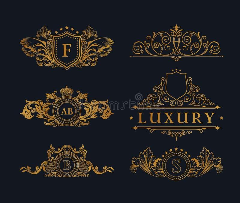 Vintage Decorative Gold Elements Flourishes Calligraphic