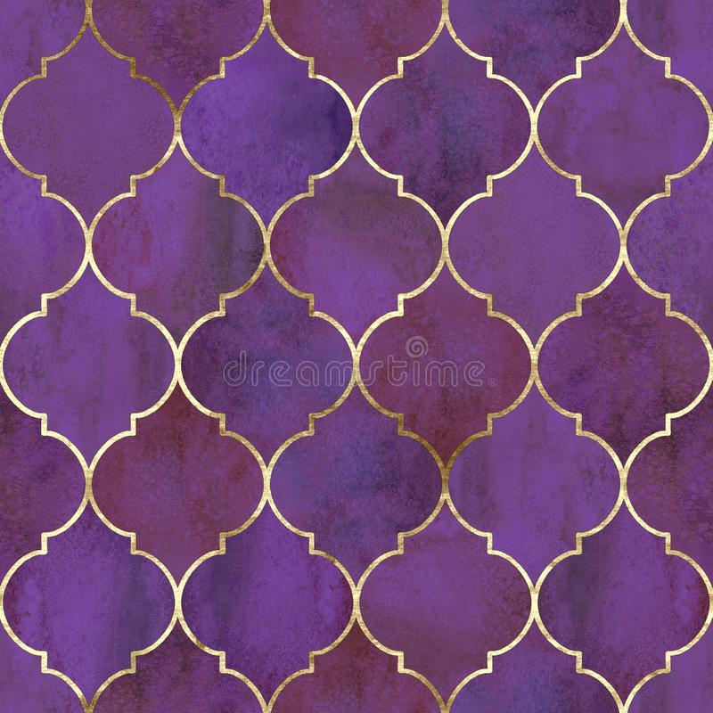 Vintage decorative grunge indian, moroccan seamless pattern. Vintage decorative moroccan seamless pattern with gold line. Watercolor hand drawn dark pink purple royalty free stock photo