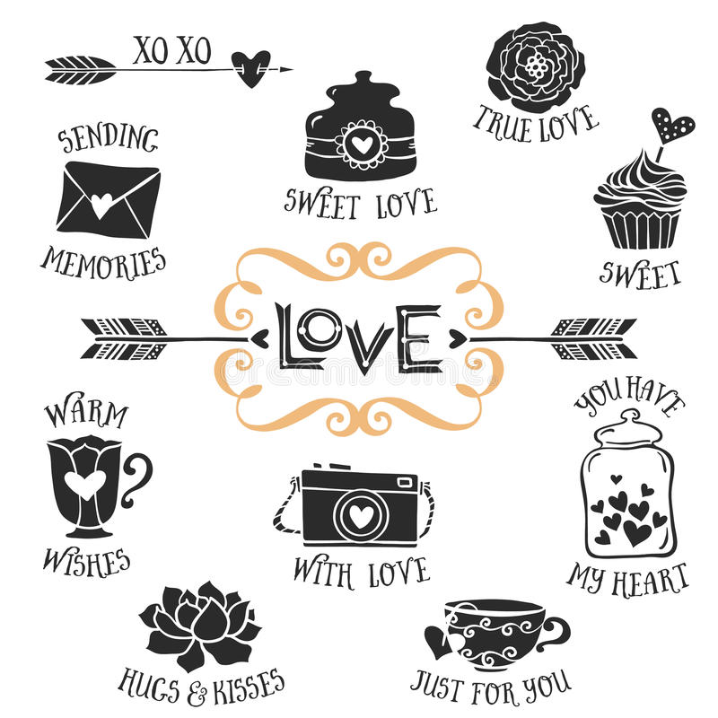 Free Vintage Decorative Love Badges With Lettering. Hand Drawn Vector Stock Images - 50326264