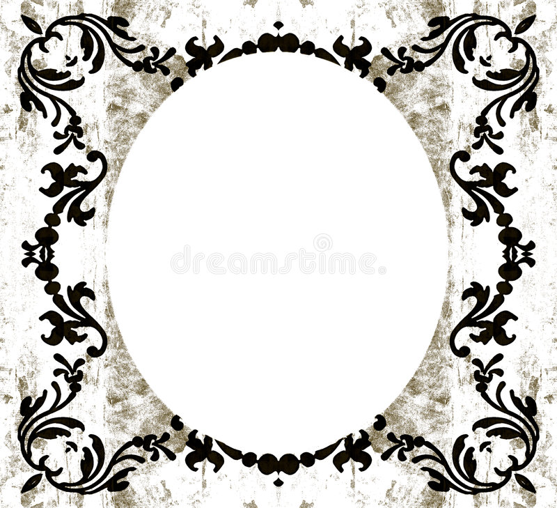 Vintage decorative oval grunge. Decorative floral elements on vintage old fashioned retro grunge in sepia brown tones with white oval copyspace vector illustration