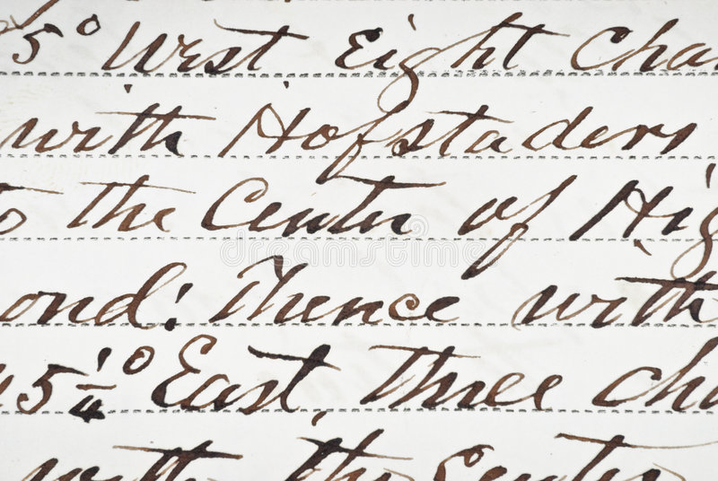 Vintage Deed. Close up of handwritten antique deed royalty free stock photos