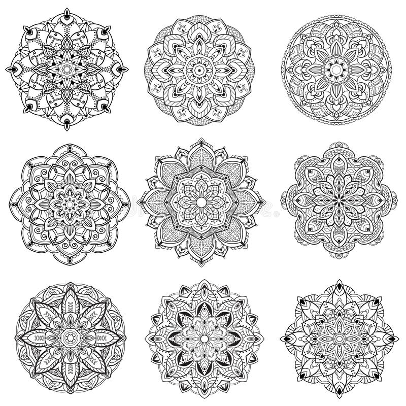 Vintage del color del negro de la mandala de la flor decorativo libre illustration