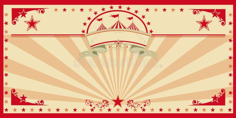Vintage del rojo de la tarjeta del circo ilustración del vector