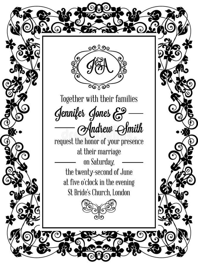 Vintage delicate formal invitation card stock vector illustration download vintage delicate formal invitation card stock vector illustration of greeting black 96754566 stopboris Choice Image