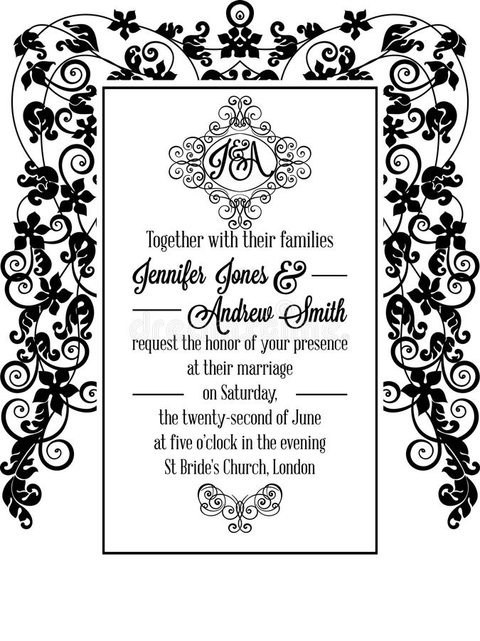 Vintage delicate formal invitation card stock vector illustration download vintage delicate formal invitation card stock vector illustration of drawing banner 96754645 stopboris Choice Image