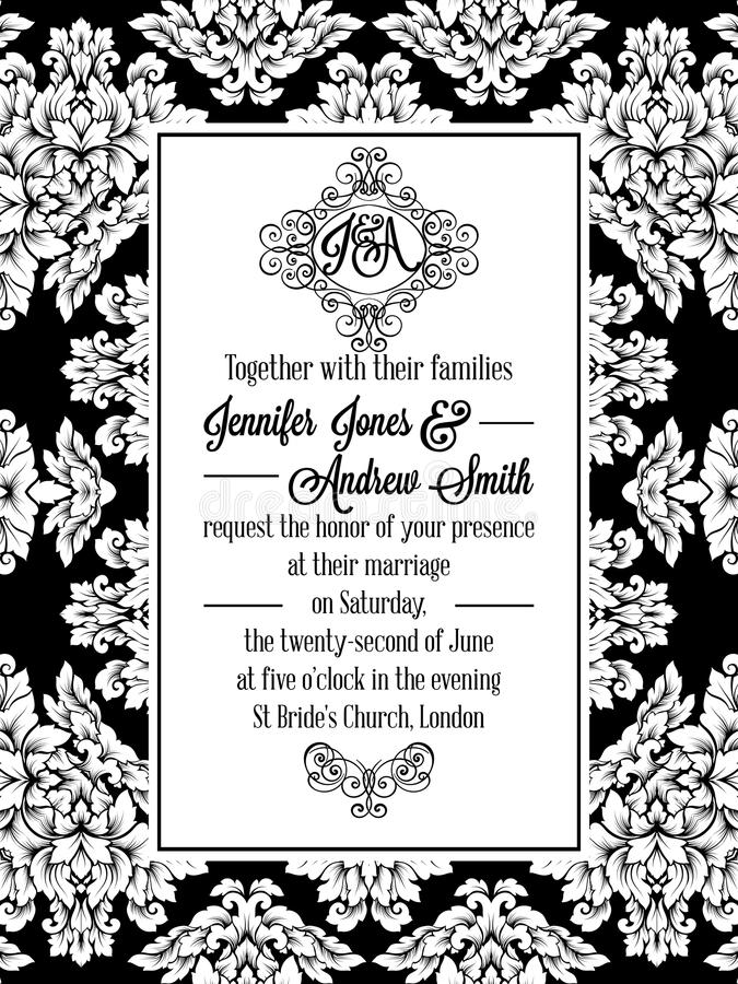 Vintage delicate formal invitation card stock vector illustration download vintage delicate formal invitation card stock vector illustration of card background 96759114 stopboris Choice Image