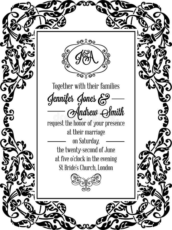 Vintage delicate formal invitation card stock vector illustration download vintage delicate formal invitation card stock vector illustration of date design 96820816 stopboris Choice Image
