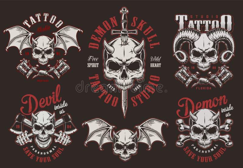 Vintage demon skull tattoo studio labels royalty free illustration