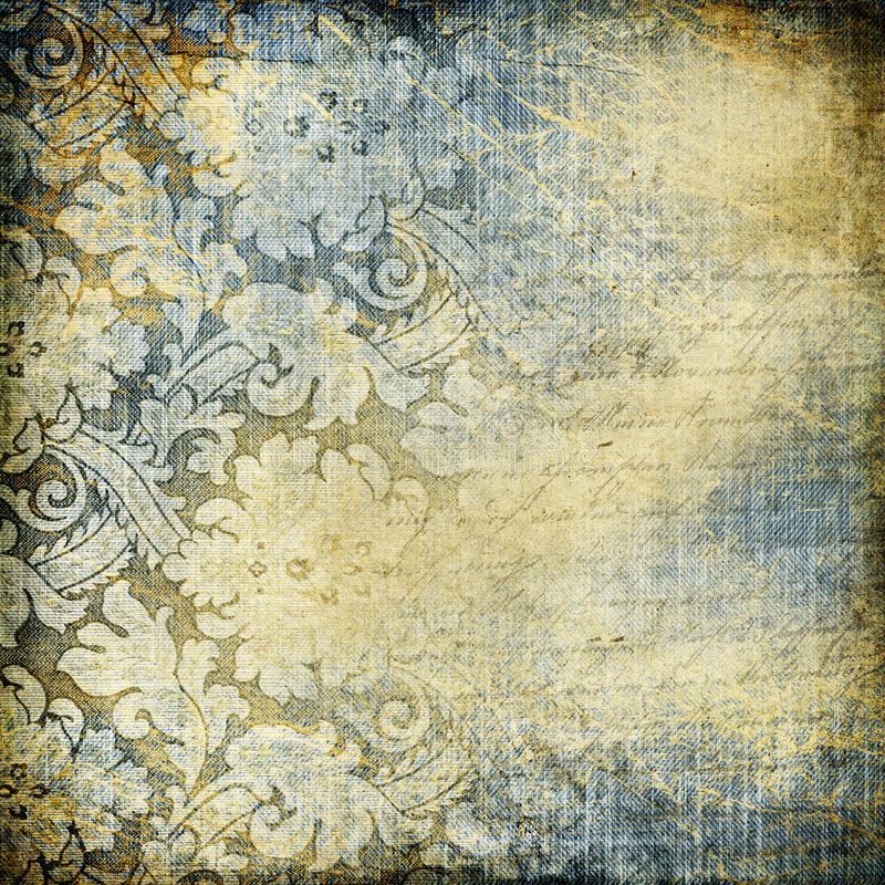 Vintage denim. Decorative retro background with lacy patterns stock photo
