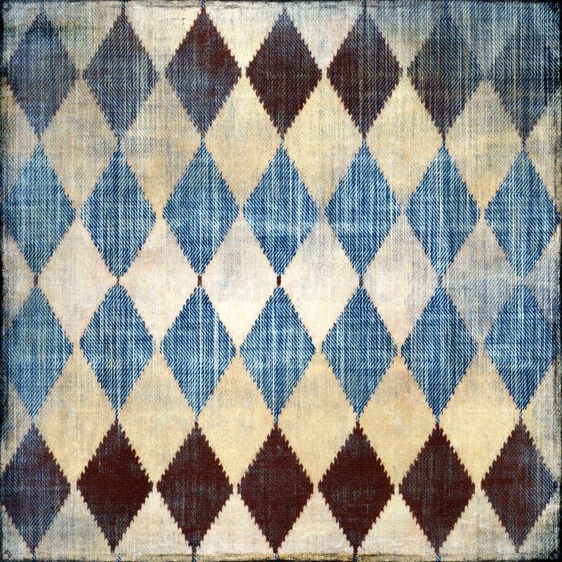 Vintage denim. Shabby vintage denim texture with rhombuses