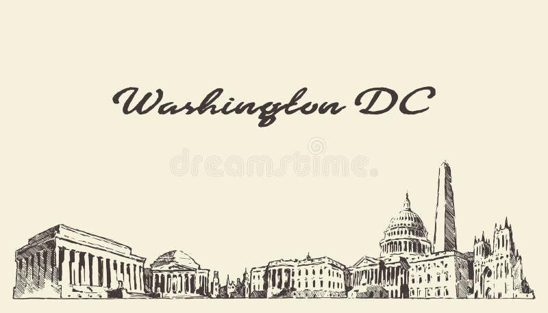 Vintage des Etats-Unis d'horizon de Washington DC gravé dessiné illustration de vecteur