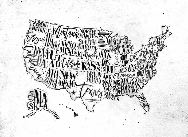 Vintage des Etats-Unis de carte illustration libre de droits