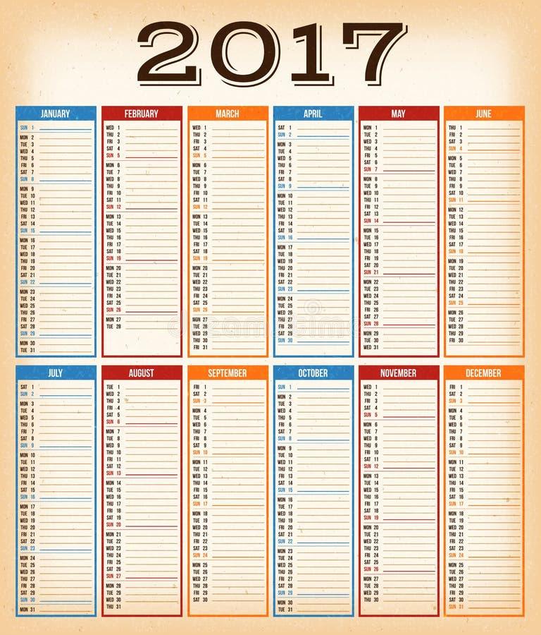 Vintage Design Calendar For Year 2017. Illustration of a vintage design calendar for year 2017, with monthes, weeks, quarters and grunge textured background vector illustration