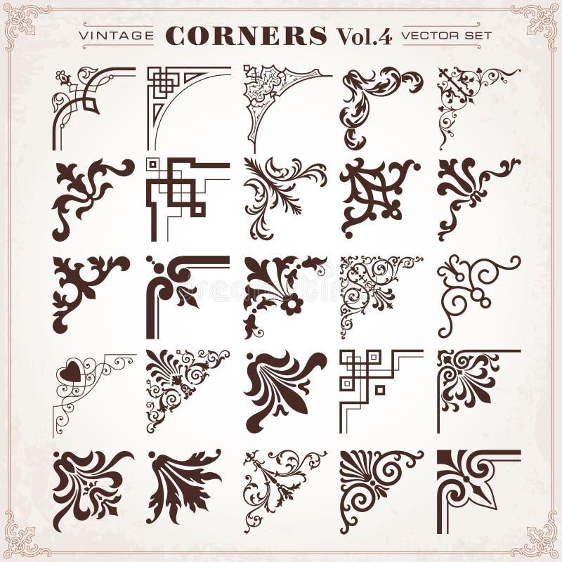Vintage Design Elements Corners And Borders Set 4 stock illustration