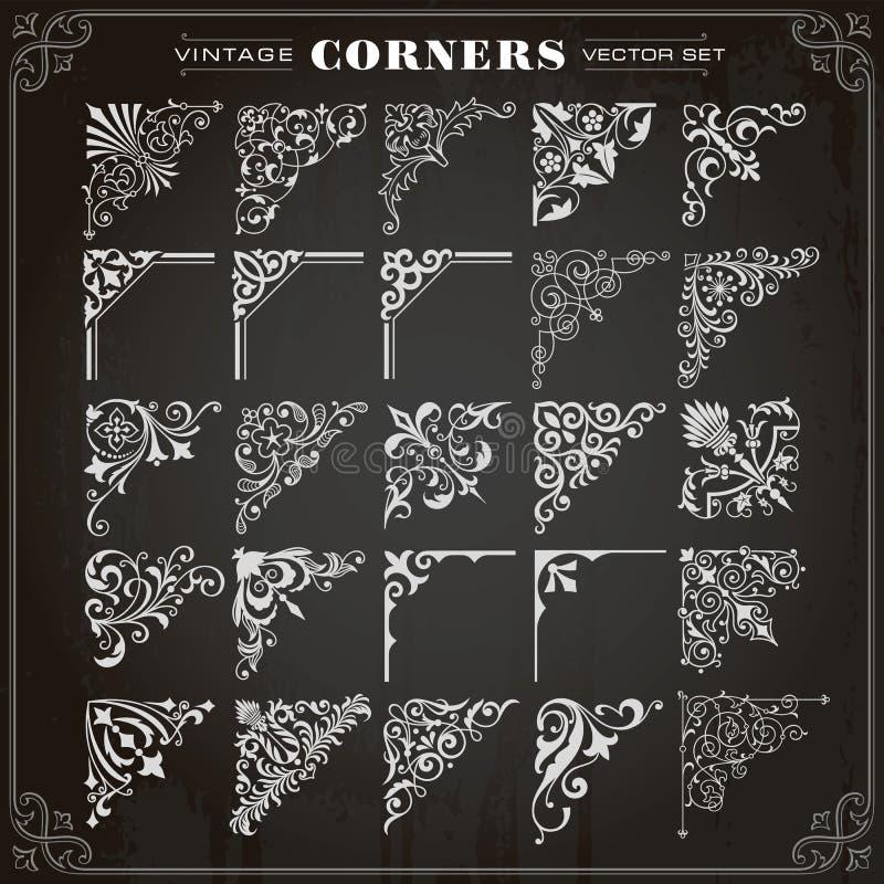 Vintage Design Elements Corners And Borders Set 1 royalty free illustration