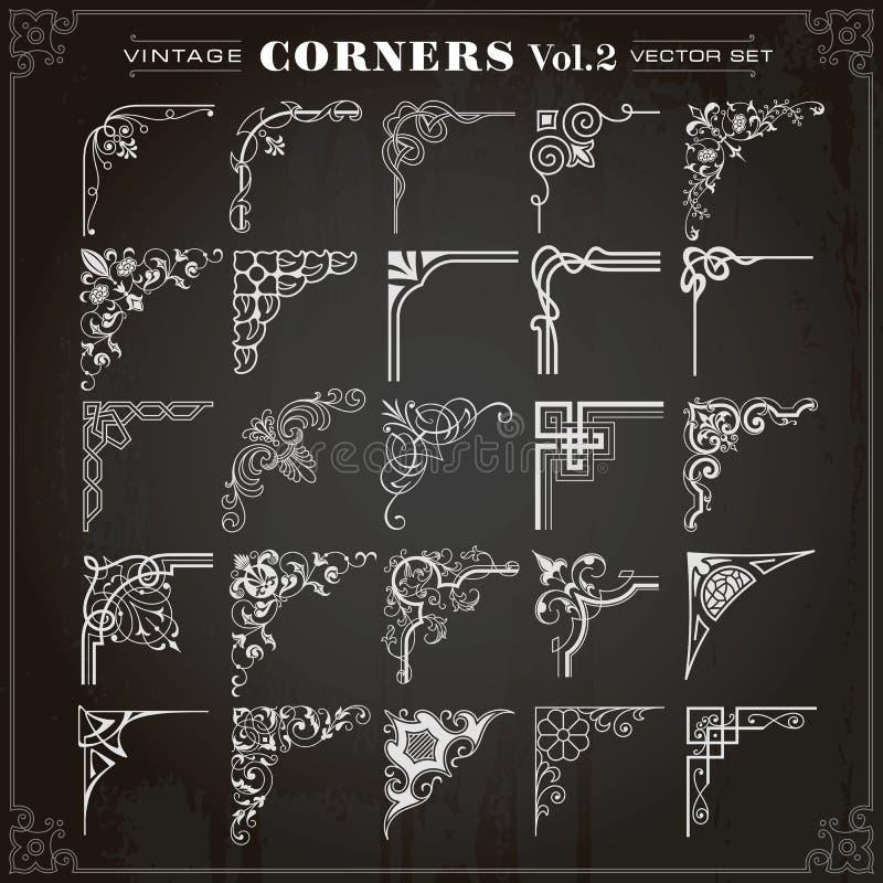 Vintage Design Elements Corners And Borders Set 2 royalty free illustration