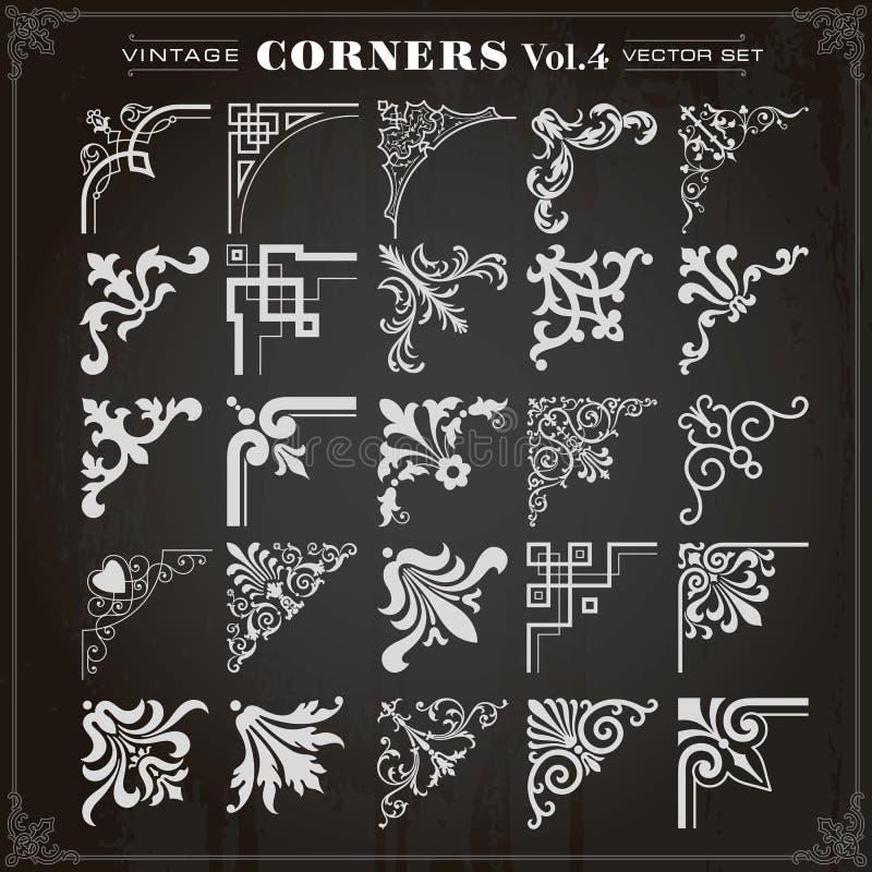 Vintage Design Elements Corners And Borders Set 4 royalty free illustration