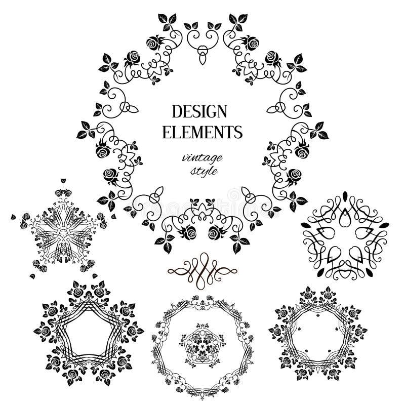 Vintage design elements. Vintage floral elements. Design for vintage background, card, banner, leaflet and so on vector illustration