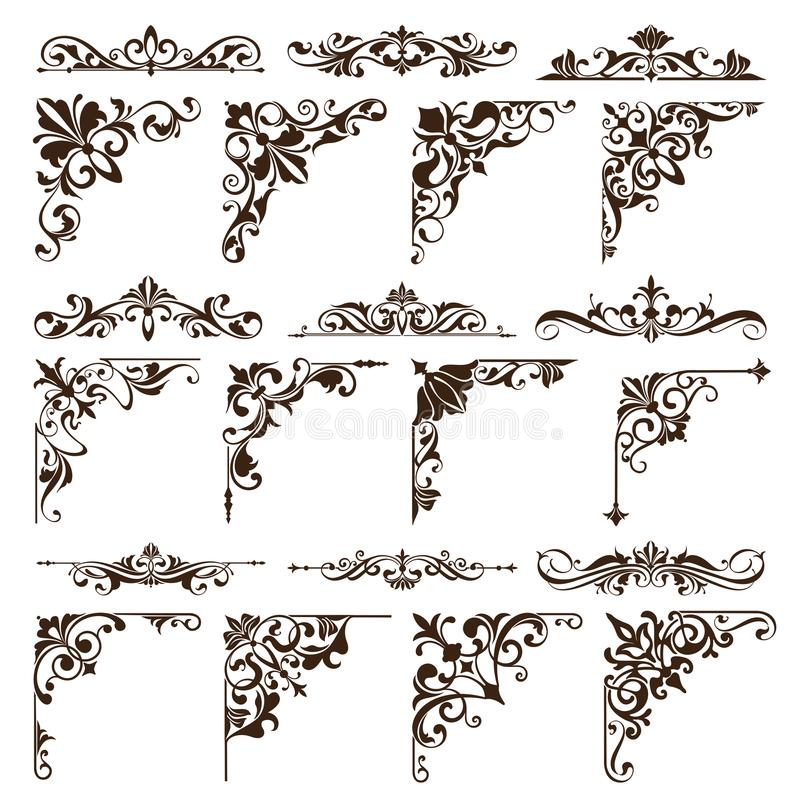 Free Vintage Design Elements Ornaments Frame Corners Curbs Retro Stickers And Damask Vector Set Illustration Stock Photo - 113964800