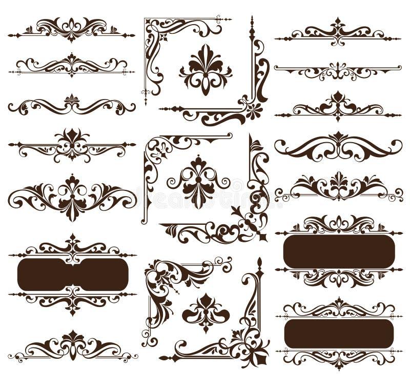 Vintage design elements ornaments frame corners curbs retro stickers and damask vector set illustration. White background stock illustration