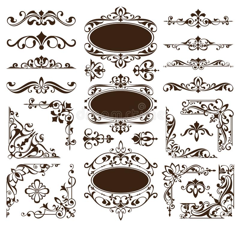 Vintage design elements ornaments frame corners curbs retro stickers and damask vector set illustration stock illustration