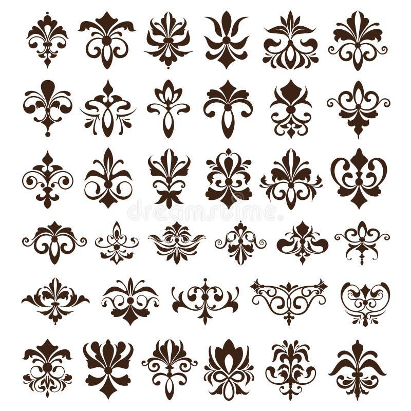 Vintage design elements ornaments frame corners curbs retro stickers and damask vector set illustration. White background vector illustration