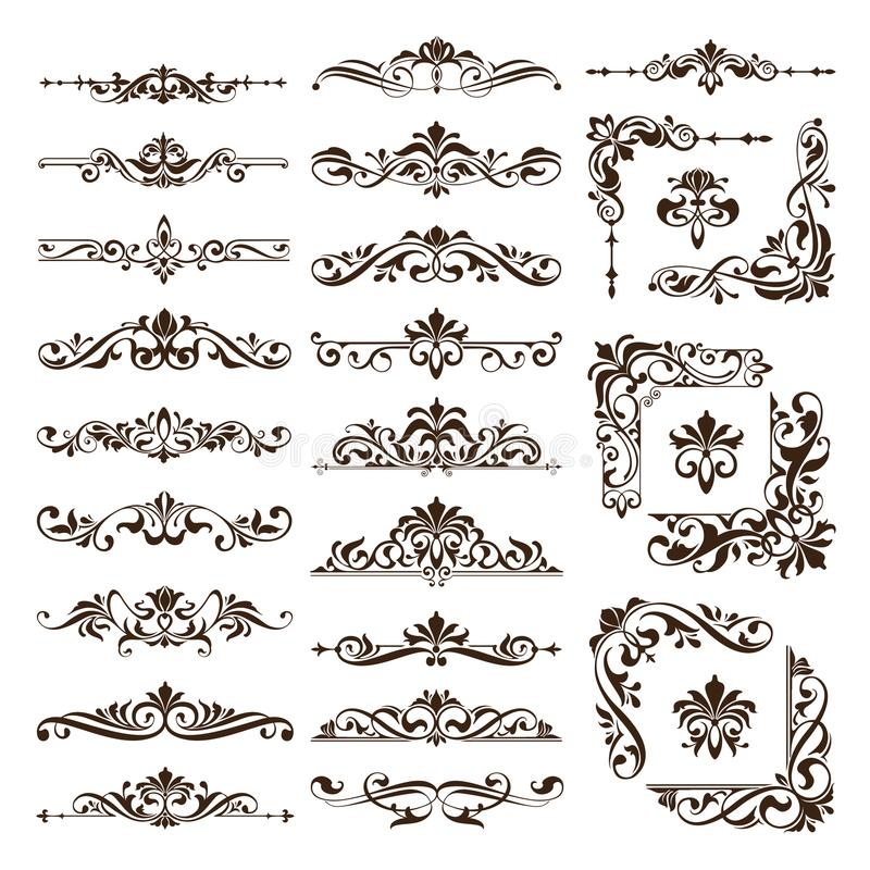 Vintage design elements ornaments frame corners curbs retro stickers and damask vector set illustration. White background royalty free illustration
