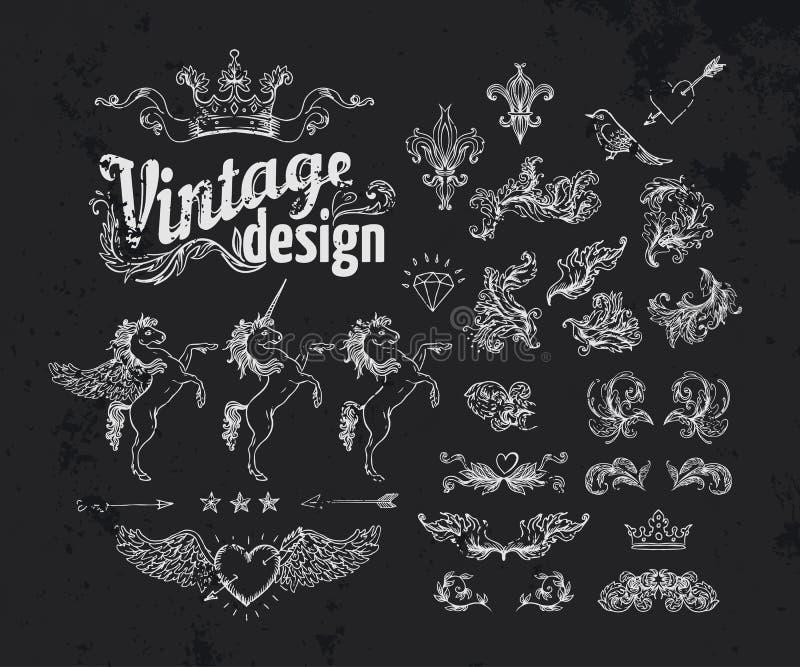 Vintage design elements set. Gold outlines isolated on black. Vector illustration stock illustration