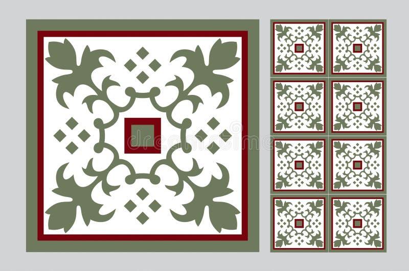 Vintage design patterned blue tiles royalty free illustration