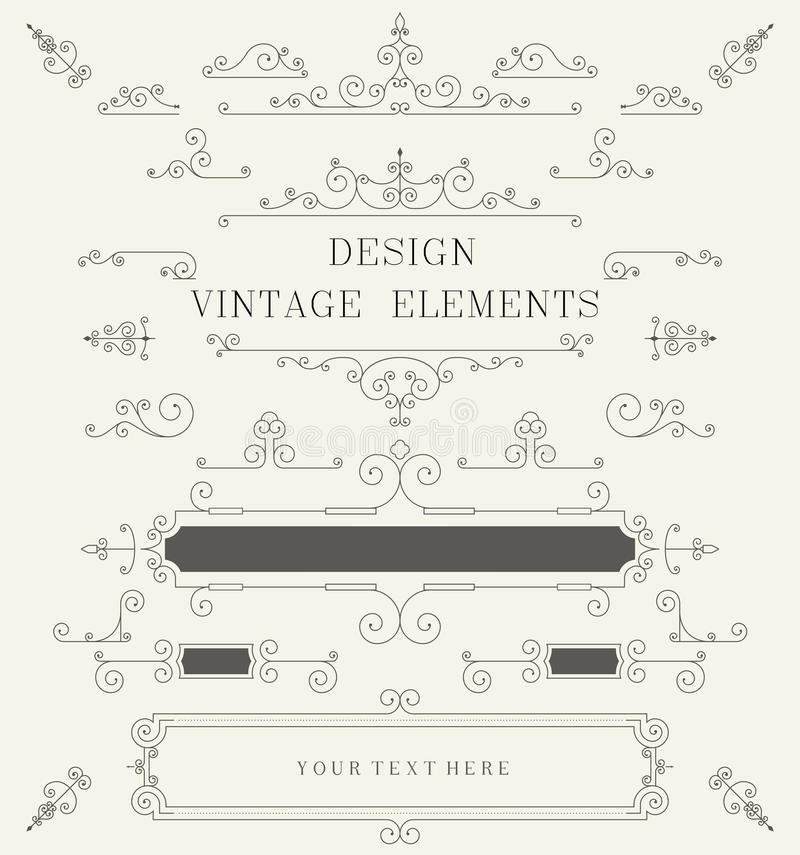 Vintage design template, borders, retro elements, Frame, for invitation Vector royalty free illustration