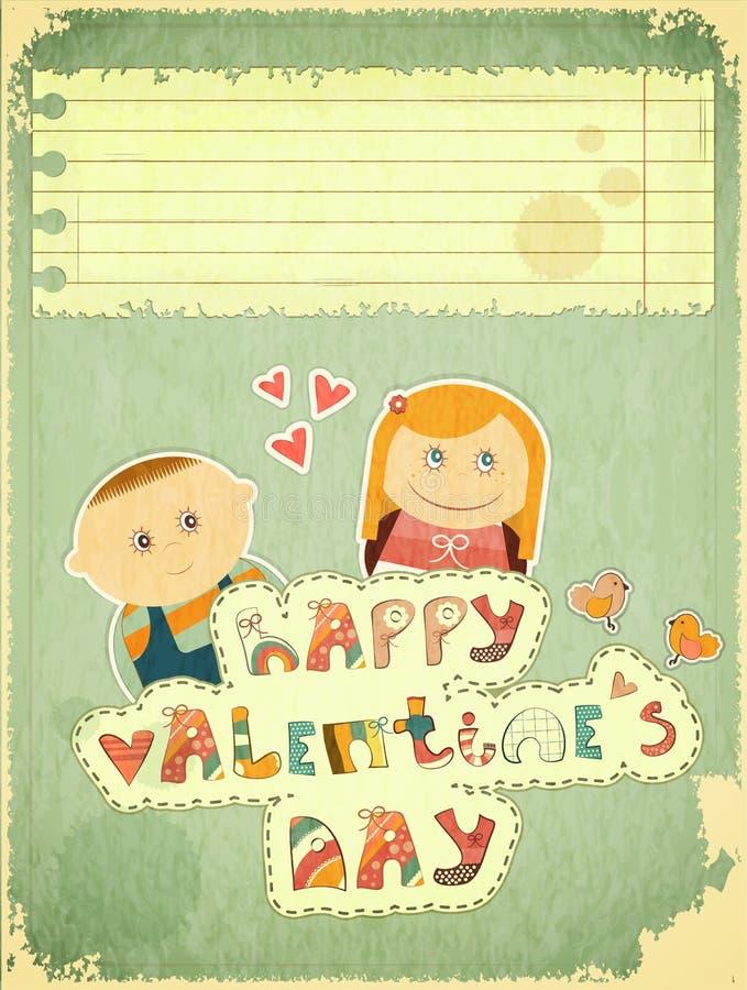 Download Vintage Design Valentines Day Card Stock Vector - Illustration of love, bird: 27910771