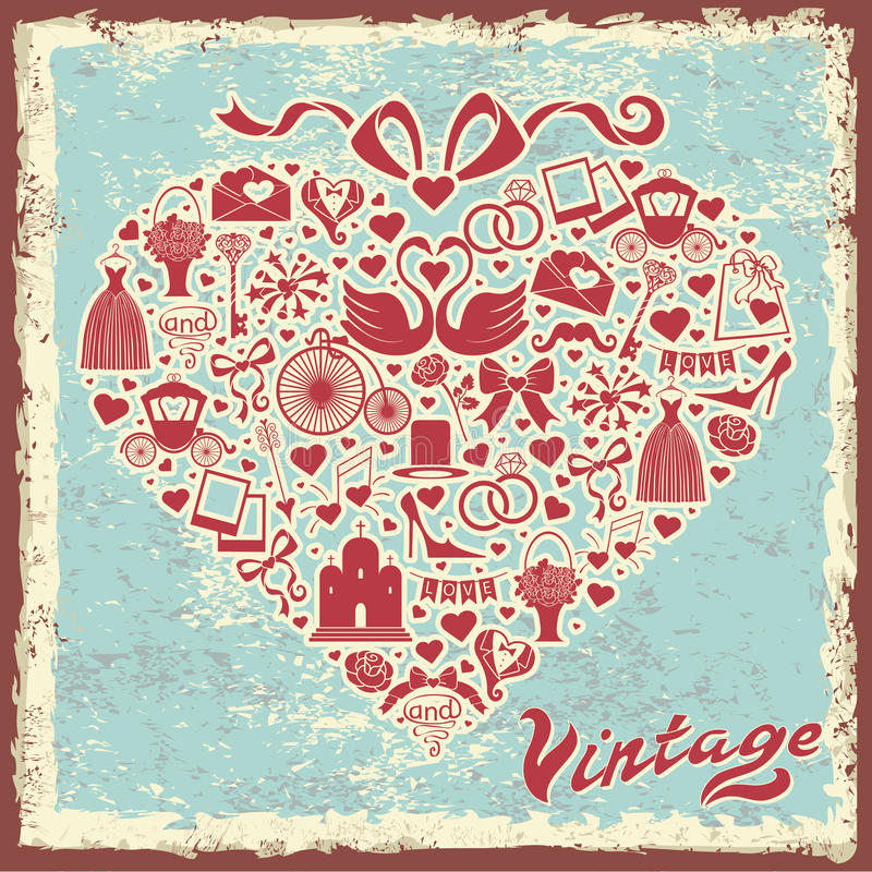 Vintage design with wedding item in hearts composition vector illustration